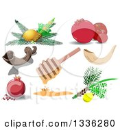 Clipart Of Jewish Holiday Items For New Year Yom Kipur And Sukkot Royalty Free Vector Illustration by Liron Peer