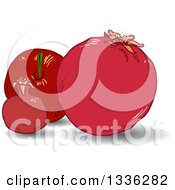 Clipart Of A Rosh Hashanah Pomegranate Fruits Royalty Free Vector Illustration by Liron Peer