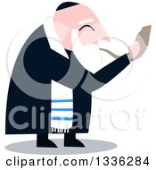 Clipart Of A Cartoon Rabbi With Talit Blowing The Shofar The Jewish Holiday Yom Kippur Royalty Free Vector Illustration