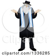 Clipart Of A Cartoon Shrugging Uncertain Rabbi With Talit Royalty Free Vector Illustration