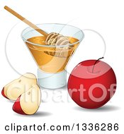 Clipart Of A Red Apple And Slices With A Cup Of Honey And A Dipper Royalty Free Vector Illustration