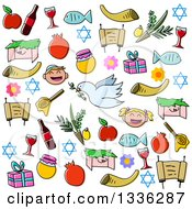 Clipart Of Sketched Jewish Rosh Hashanah Items Royalty Free Vector Illustration by Liron Peer