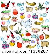 Clipart Of Sketched Jewish Rosh Hashanah Items Royalty Free Vector Illustration