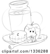 Clipart Of A Halved Black And White Apple With A Jar Of Honey And A Dipper Royalty Free Vector Illustration by Liron Peer