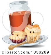 Clipart Of A Halved Red Apple With A Jar Of Honey And A Dipper Royalty Free Vector Illustration