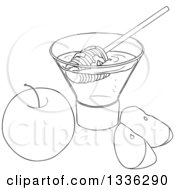 Clipart Of A Black And White Apple And Slices With A Cup Of Honey And A Dipper Royalty Free Vector Illustration