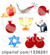 Clipart Of Jewish New Year And Yom Kipur Holiday Items Royalty Free Vector Illustration