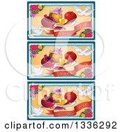 Clipart Of Happy Shana Tova Jewish New Year Designs Royalty Free Vector Illustration