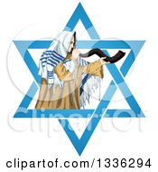 Clipart Of A Rabbi With Talit Blowing The Shofar In The Star Of David For The Jewish Holiday Yom Kippur Royalty Free Vector Illustration