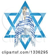 Clipart Of A Rabbi With Talit In The Star Of David For The Jewish Holiday Yom Kippur Royalty Free Vector Illustration