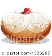 Clipart Of A Sufganiyah Jewish Holiday Hanukkah Jelly Donut Royalty Free Vector Illustration by Liron Peer