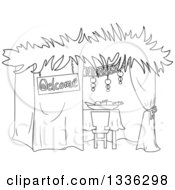 Clipart Of A Black And White Jewish Sukkah For Sukkot Royalty Free Vector Illustration