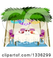 Clipart Of A Jewish Sukkah For Sukkot With A Honey Apple Wine And Pomegranates Royalty Free Vector Illustration