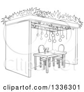 Clipart Of A Black And White Jewish Sukkah For Sukkot With Pomegranates And Wine Royalty Free Vector Illustration