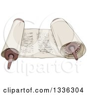 Clipart Of A Cartoon Open Torah Scroll Royalty Free Vector Illustration