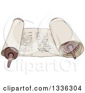 Clipart Of A Cartoon Open Torah Scroll Royalty Free Vector Illustration by Liron Peer