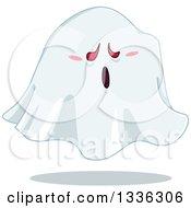 Clipart Of A Cartoon Halloween Sheet Ghost Royalty Free Vector Illustration