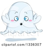 Clipart Of A Cartoon Halloween Ghost With Blue Eyes Royalty Free Vector Illustration