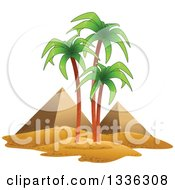 Clipart Of The Egyptian Pyramids And Palm Trees Royalty Free Vector Illustration