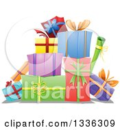 Clipart Of A Cartoon Pile Of Colorful Wrapped Gifts Royalty Free Vector Illustration
