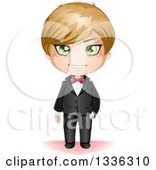 Happy Green Eyed Dirtyblond Haired Caucasian Groom In A Black Tuxedo