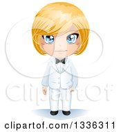 Happy Blue Eyed Blond Haired Caucasian Groom In A White Tuxedo