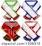 Clipart Of Sports Team Scarves Royalty Free Vector Illustration