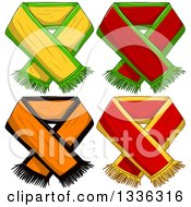 Clipart Of Sports Team Scarves 2 Royalty Free Vector Illustration