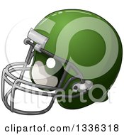 Clipart Of A Cartoon Green American Football Helmet Royalty Free Vector Illustration