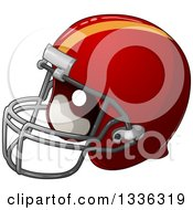 Clipart Of A Cartoon Red American Football Helmet Royalty Free Vector Illustration by Liron Peer