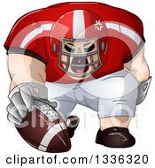 Clipart Of A Cartoon Buff White Male Football Player Kneeling With The Ball Royalty Free Vector Illustration by Liron Peer