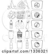 Clipart Of Sketched Recyclables Products And Bags Royalty Free Vector Illustration by Liron Peer