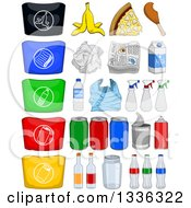 Clipart Of Cartoon Recyclables Products And Bags Royalty Free Vector Illustration by Liron Peer