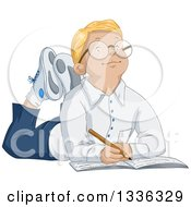 Clipart Of A Cartoon Smart Blond White Boy Wearing Glasses And Writing In A Notebook On The Floor Royalty Free Vector Illustration by Liron Peer