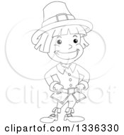 Clipart Of A Sketched Black And White Grinning Pilgrim Boy Royalty Free Vector Illustration