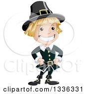 Cartoon Grinning Blond White Pilgrim Boy