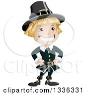 Clipart Of A Cartoon Grinning Blond White Pilgrim Boy Royalty Free Vector Illustration