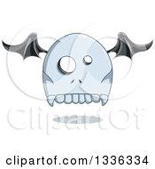 Cartoon Halloween Tombstone Bat Winged Ghost