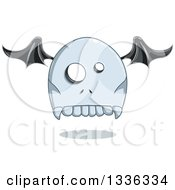 Clipart Of A Cartoon Halloween Tombstone Bat Winged Ghost Royalty Free Vector Illustration by Liron Peer