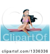 Clipart Of A Cartoon Beautiful Happy Hawaiian Woman Floating On A Surf Board Royalty Free Vector Illustration