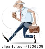 Cartoon Caucasian Senior Business Man Speed Walking With A Hot Coffee And Briefcase