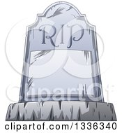 Clipart Of A Cartoon Tombstone With A Blank Plaque And RIP Royalty Free Vector Illustration