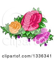 Clipart Of Colorful Rose Flowers And Leaves Royalty Free Vector Illustration
