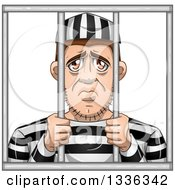 Clipart Of A Cartoon White Male Convict Giving A Sad Face Behind Bars Royalty Free Vector Illustration