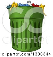 Clipart Of A Full Green Trash Can Royalty Free Vector Illustration