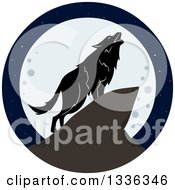 Clipart Of A Lone Wolf Howling Against A Full Moon Royalty Free Vector Illustration by Liron Peer