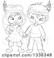 Clipart Of Cartoon Black And White Native American Indian Children Holding Hands Royalty Free Vector Illustration by Liron Peer