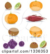 Clipart Of Kiwi Sweet Potato Potato Orange And Grapes Characters Royalty Free Vector Illustration by Liron Peer