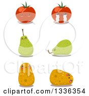 Clipart Of Happy And Sad Tomato Pear And Potato Characters Royalty Free Vector Illustration