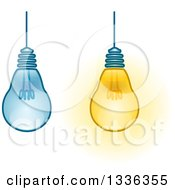 Clipart Of Suspended Light Bulbs On And Off Royalty Free Vector Illustration